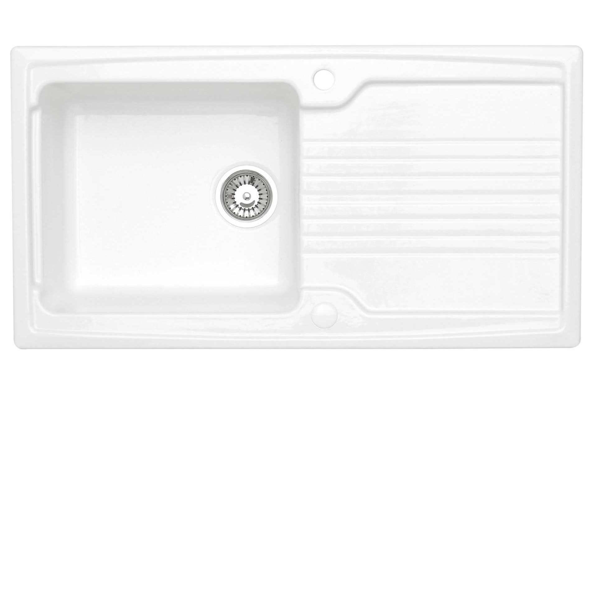 astracast equinox 1 0 white ceramic sink kitchen sinks taps - White Kitchen Sink Taps