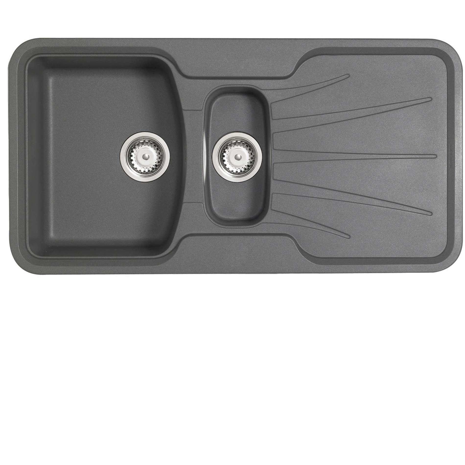 picture of korona 1 5 rok metallic graphite grey granite sink astracast  korona 1 5 rok metallic graphite grey granite sink      rh   kitchensinksandtaps co uk