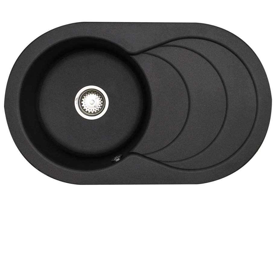Rok Granite Sinks : Picture of Cascade ROK Metallic Volcano Black Granite Sink