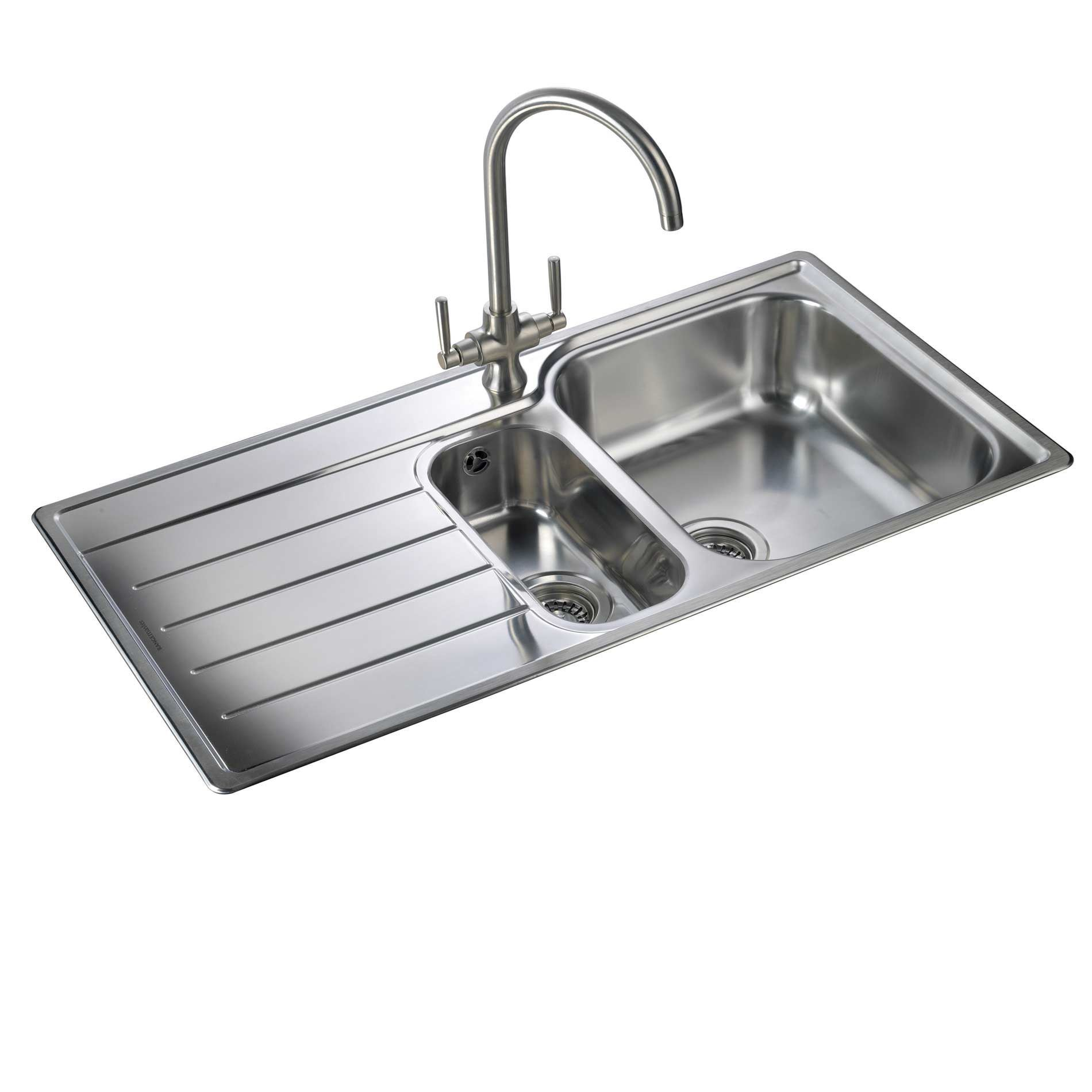 Rangemaster: Oakland OL9852 Stainless Steel Sink - Kitchen Sinks & on stainless bath sinks, integrated kitchen appliances, stainless steel sinks, stainless corner sink, stainless wash sinks, stainless undermount sinks, stainless vessel sinks, stainless bar sinks, stainless floor sinks, stainless sink clips, stainless trough sink, stainless sink grids, bar sinks, stainless farmhouse sink for remodel, big stainless sinks, polished concrete sinks, stainless restaurant sink, bathroom sinks, stainless vanity sinks, stainless mop sink, kitchen stainless steel sinks, stainless bathroom faucets, countertop sinks, stainless steel basins,