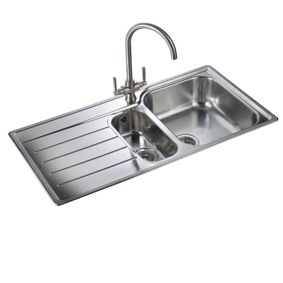 Stainless Steel Sinks In White Kitchen