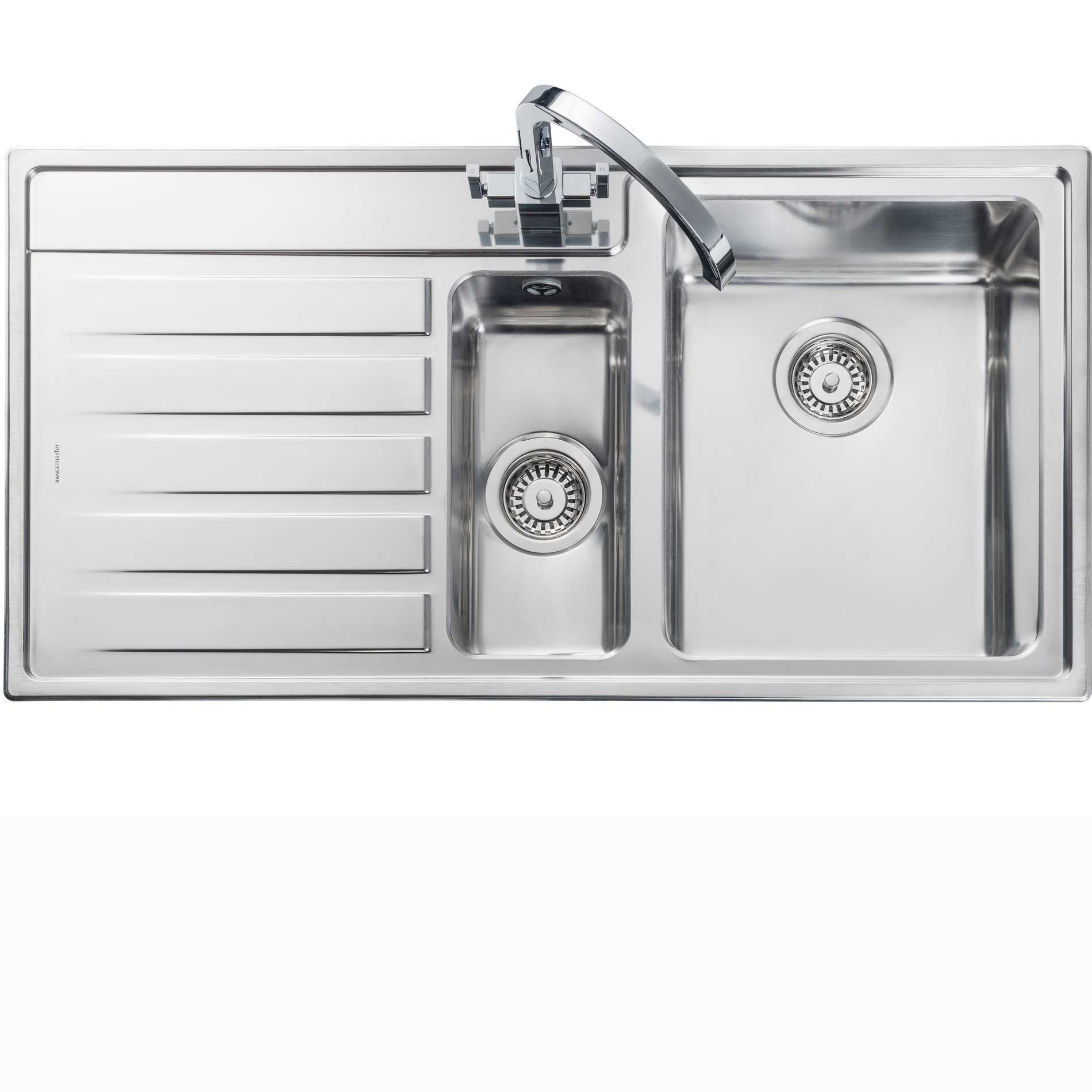 picture of rockford 1 5 rk9852 stainless steel sink rangemaster  rockford 1 5 rk9852 stainless steel sink   kitchen      rh   kitchensinksandtaps co uk