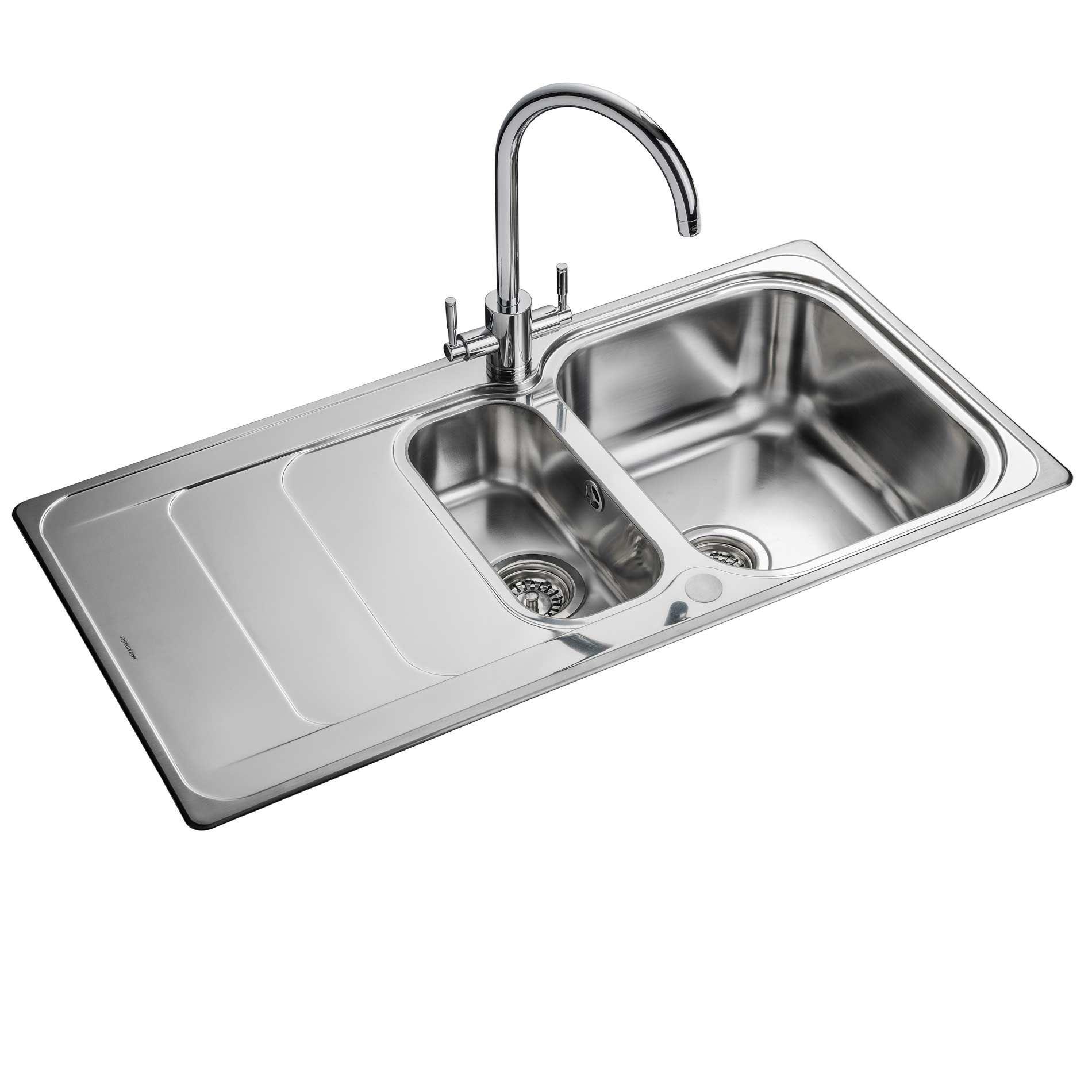... : Houston 1-5 HS9852 Stainless Steel Sink - Kitchen Sinks & Taps