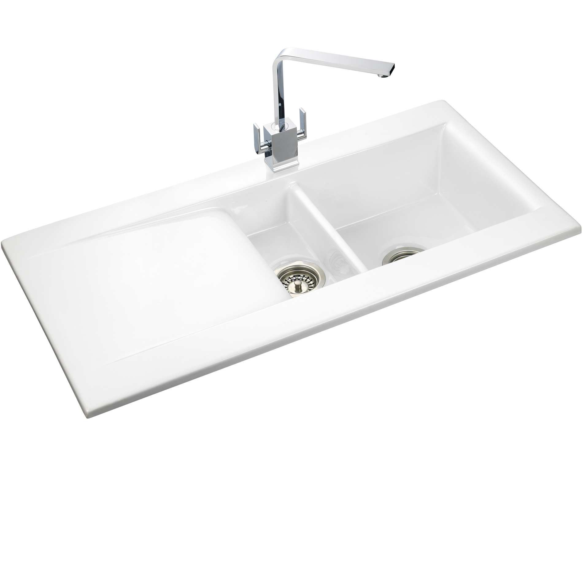 Rangemaster Kitchen Sinks Rangemaster nevada 1 5 white ceramic sink cnv2wh kitchen sinks taps picture of nevada 1 5 white ceramic sink cnv2wh workwithnaturefo