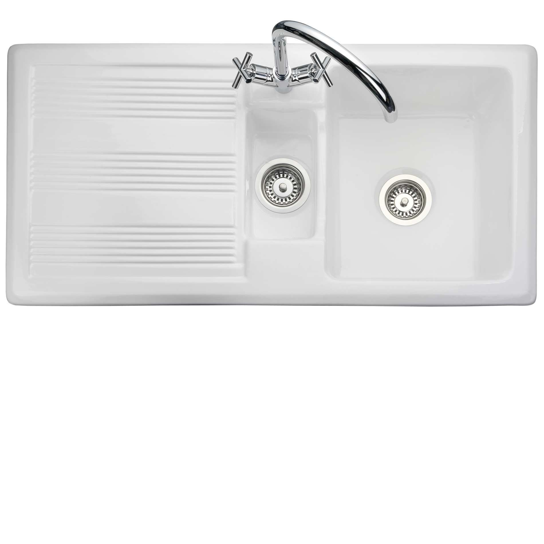 Rangemaster: Portland CPL10102WH Ceramic Sink - Kitchen Sinks & Taps