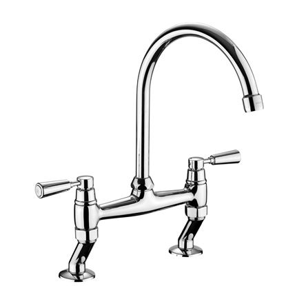 Picture of Rangemaster: Traditional Belfast Bridge Mixer TBL3CM/CM Chrome Tap with Chrome Handles