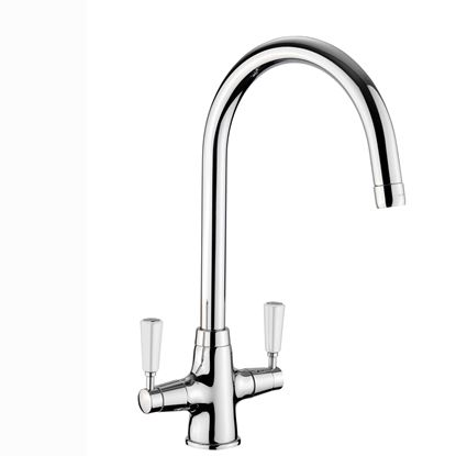 Picture of Rangemaster: Aquaclassic 2 TAC2 CM/WH Chrome Tap with White Handles