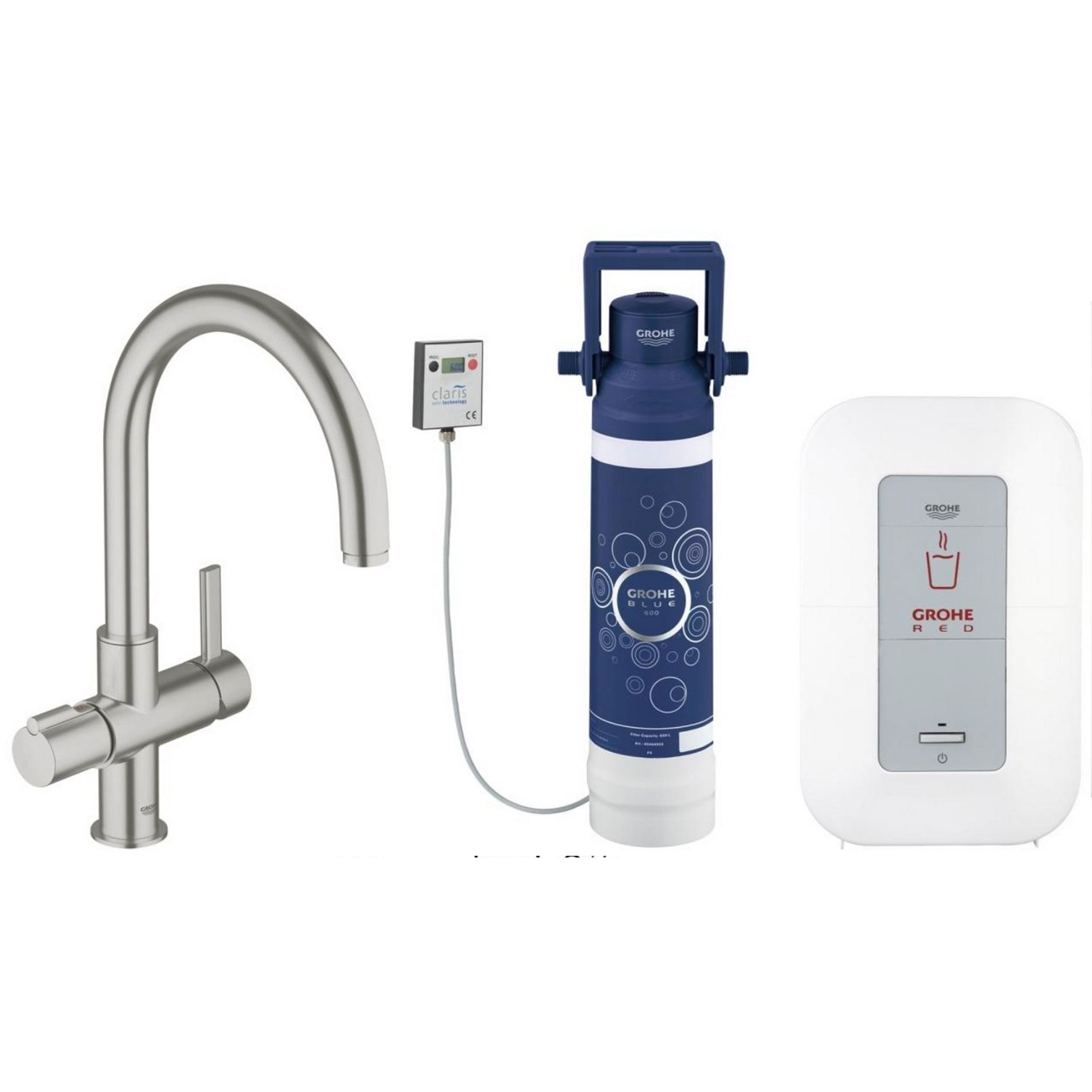 grohe red duo dc0 supersteel hot water tap kitchen sinks