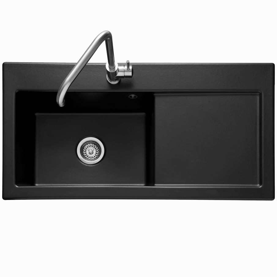 Caple: Avalon 100 Black Ceramic Sink - Kitchen Sinks & Taps