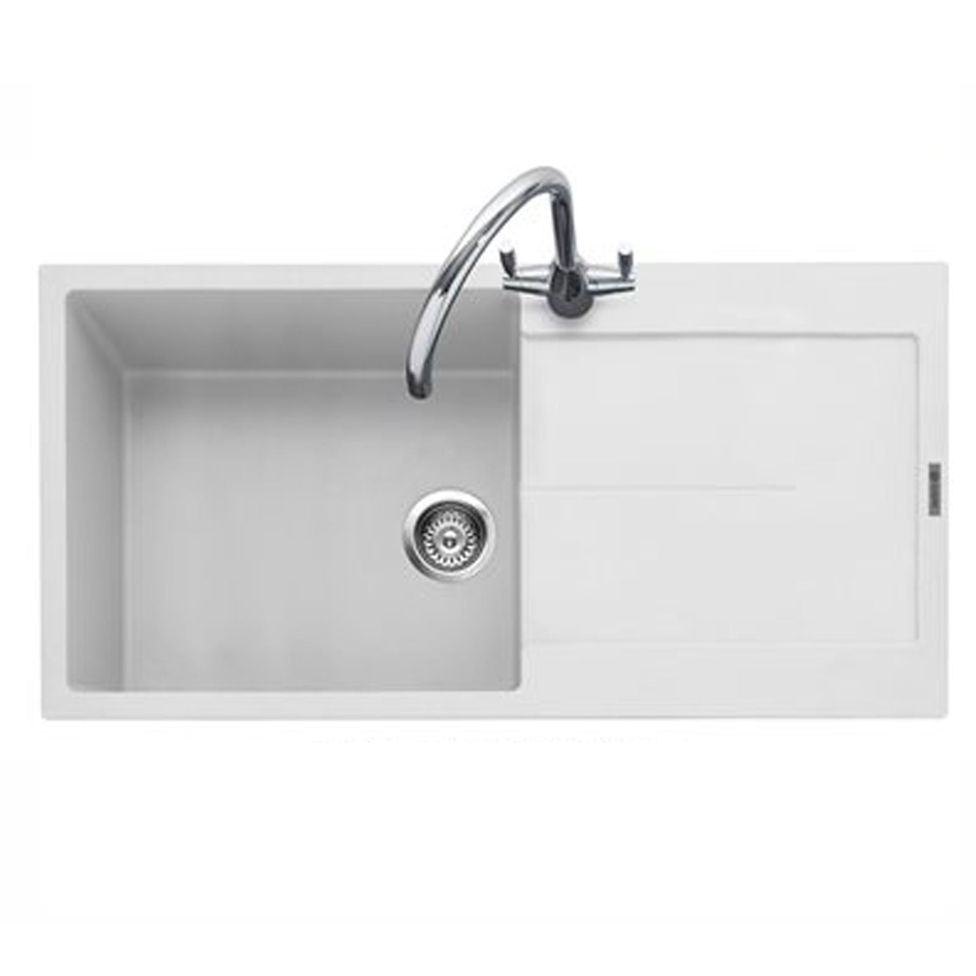 Granite Sink White : Kitchen Sinks & Taps - Caple: Canis 100 Chalk White Granite Sink