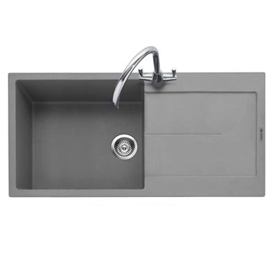 Grey Granite Sink : Kitchen Sinks & Taps - Caple: Canis 100 Pebble Grey Granite Sink
