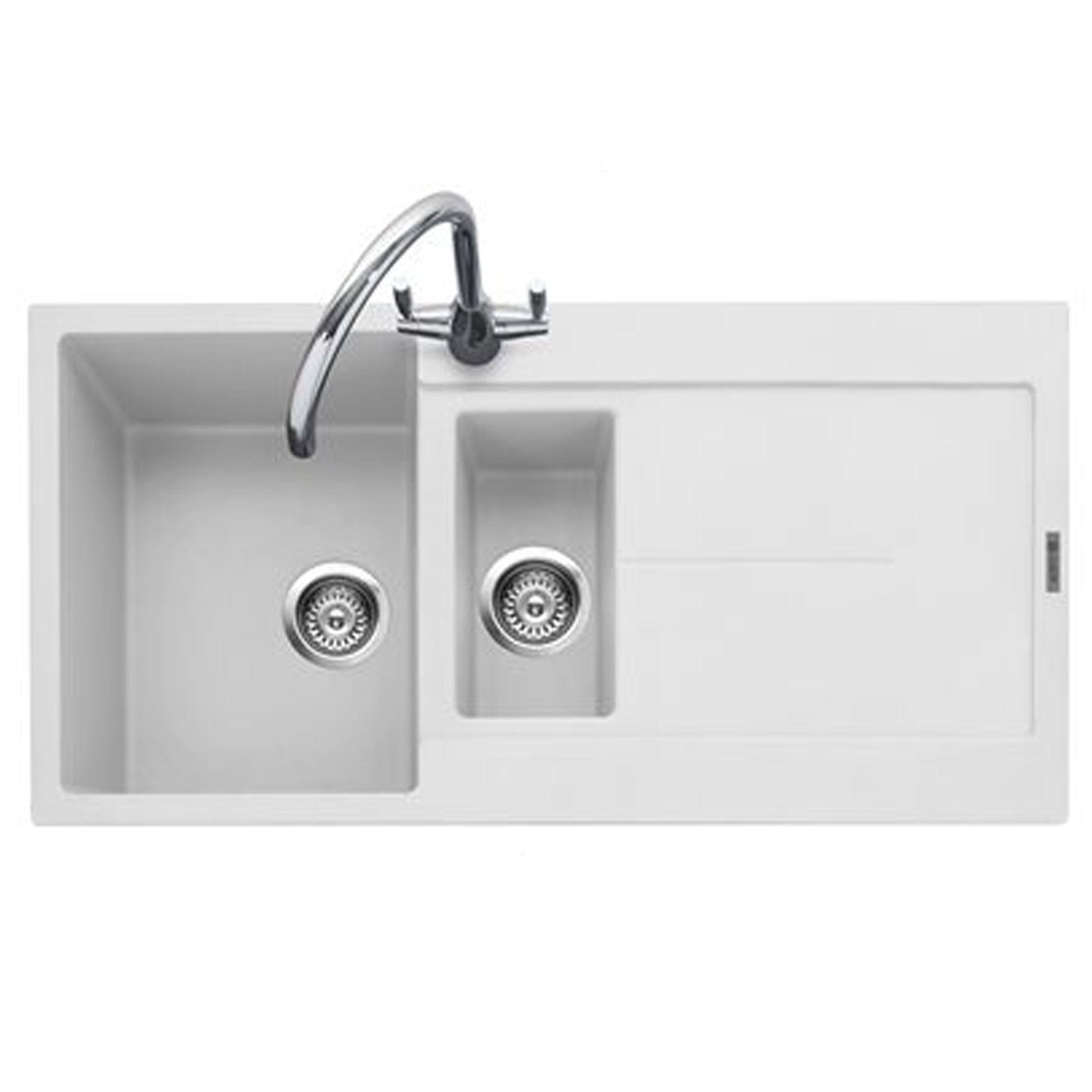 Granite Sink White : Caple: Canis 150 Chalk White Granite Sink - Kitchen Sinks & Taps