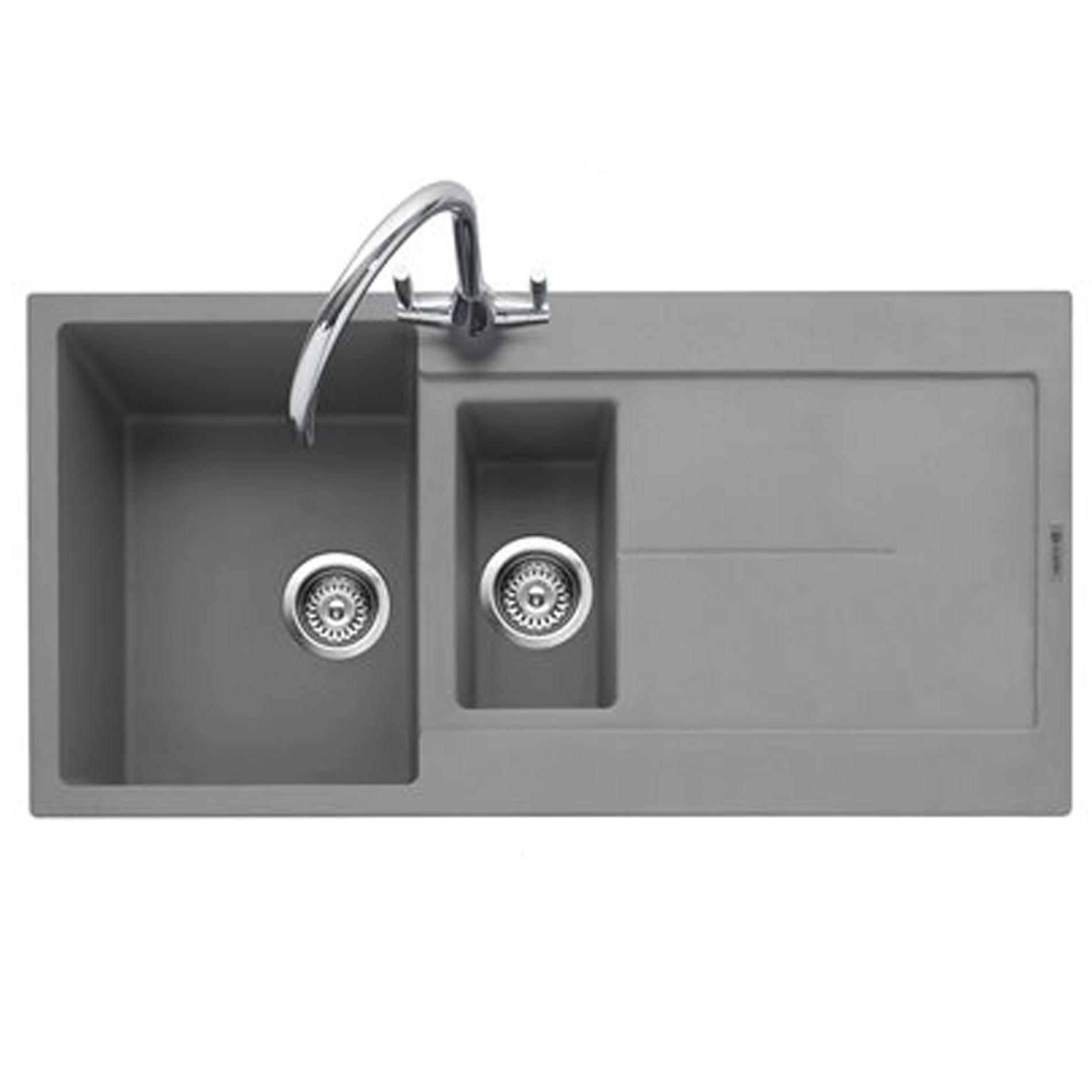 Grey Granite Sink : Caple: Canis 150 Pebble Grey Granite Sink - Kitchen Sinks & Taps