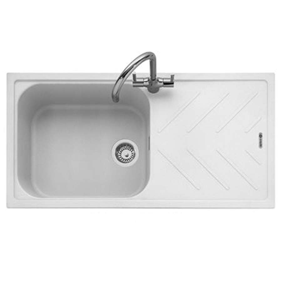 Caple Veis 100 Chalk White Granite Sink Kitchen Sinks