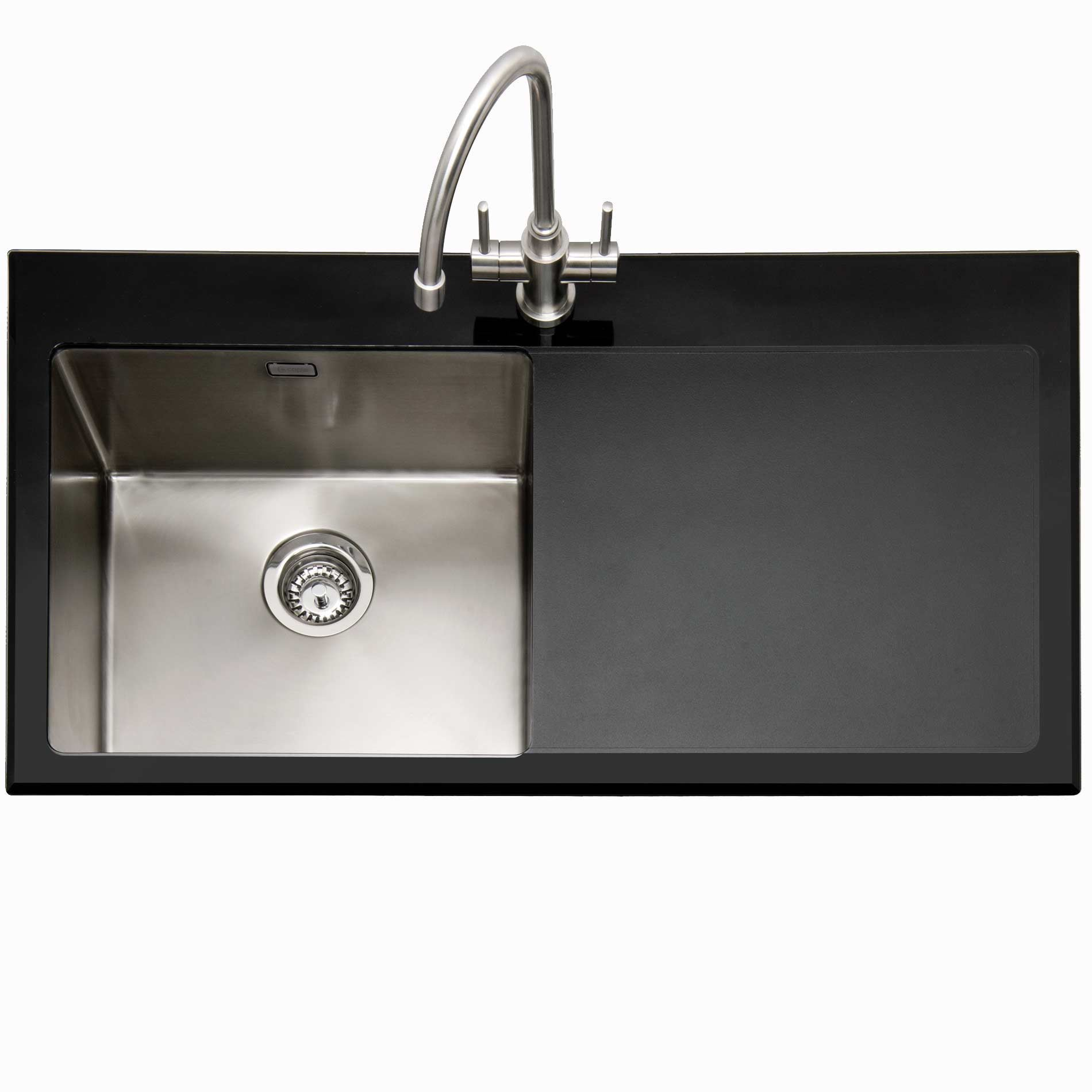 Caple vitrea 100 stainless steel and black glass sink kitchen picture of vitrea 100 stainless steel and black glass sink workwithnaturefo