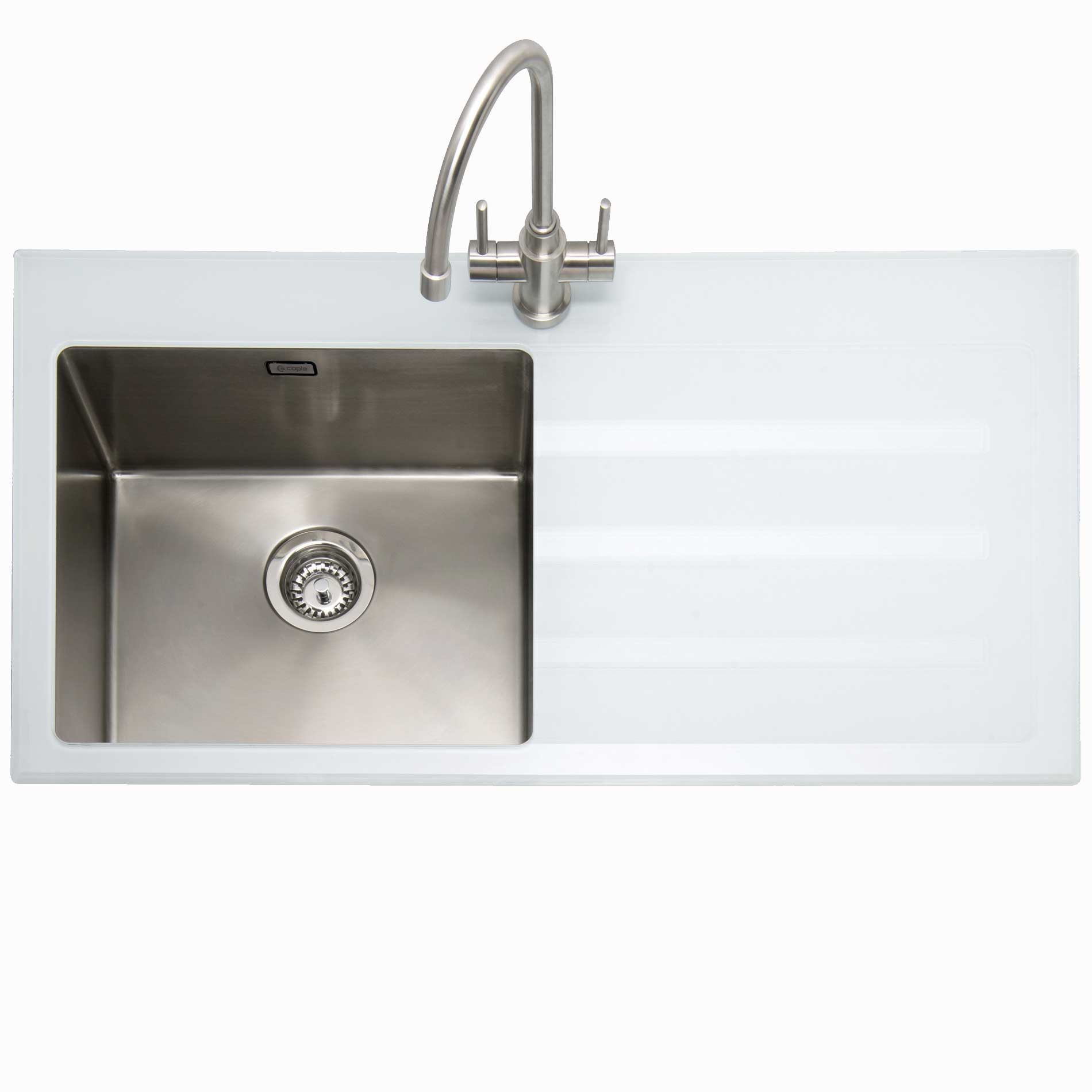 Caple: Vitrea 100 Stainless Steel And White Glass Sink - Kitchen ...