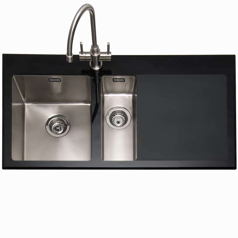 Franke Black Glass Sink : ... Vitrea 150 Stainless Steel And Black Glass Sink - Kitchen Sinks & Taps