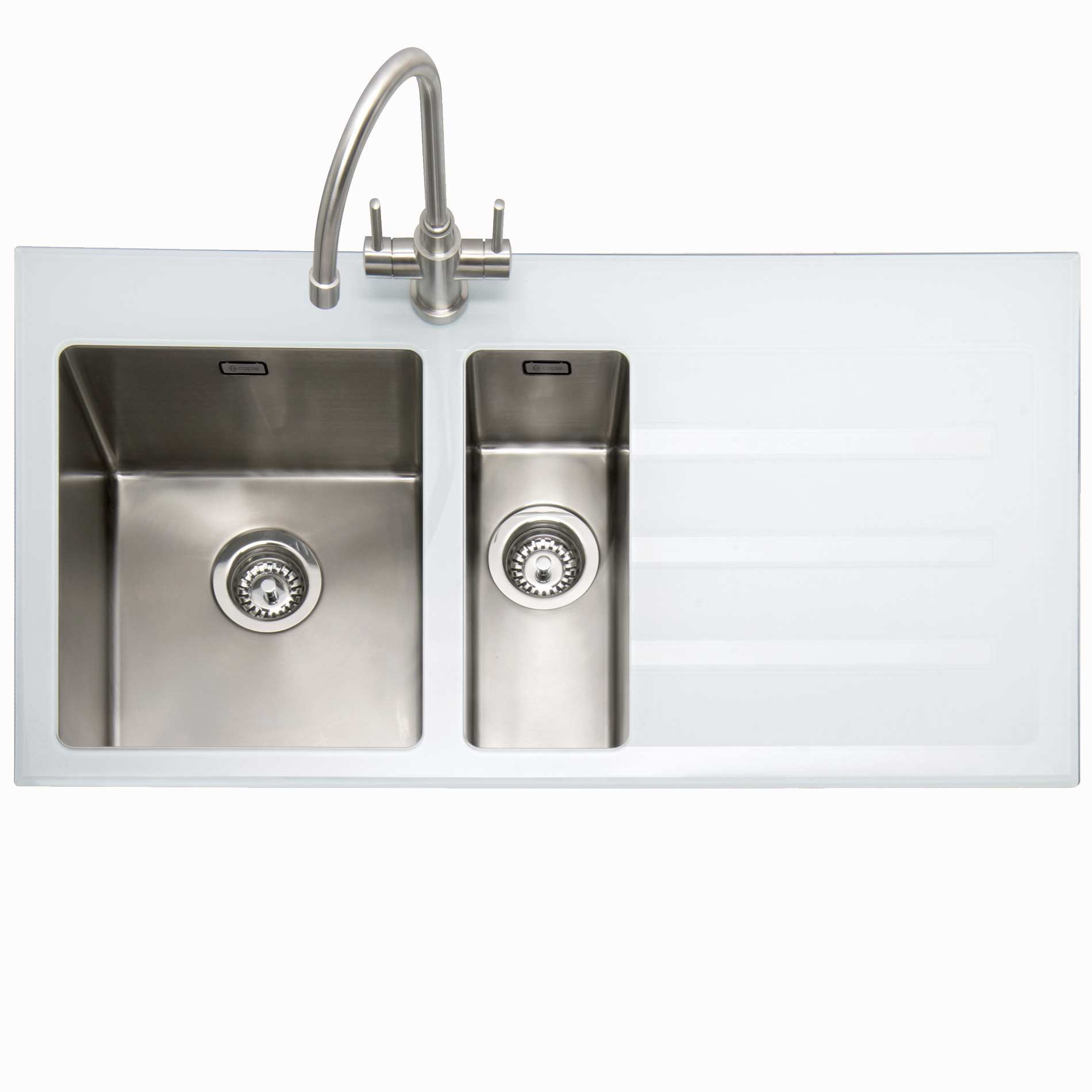 Caple: Vitrea 150 Stainless Steel And White Glass Sink - Kitchen ...