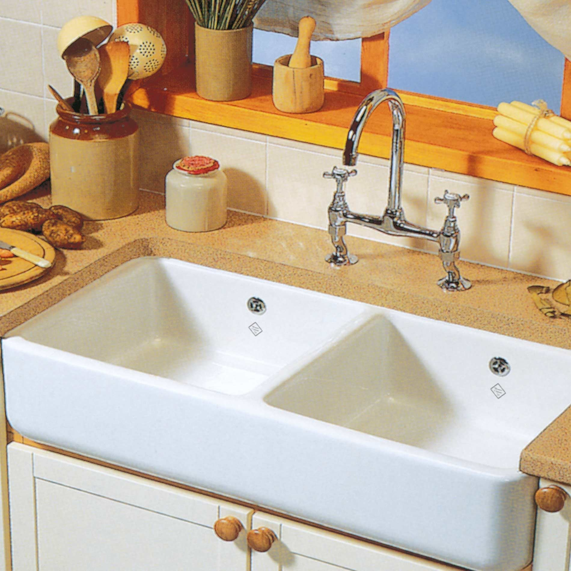 Shaws: Classic 1000 Double Ceramic Sink - Kitchen Sinks & Taps