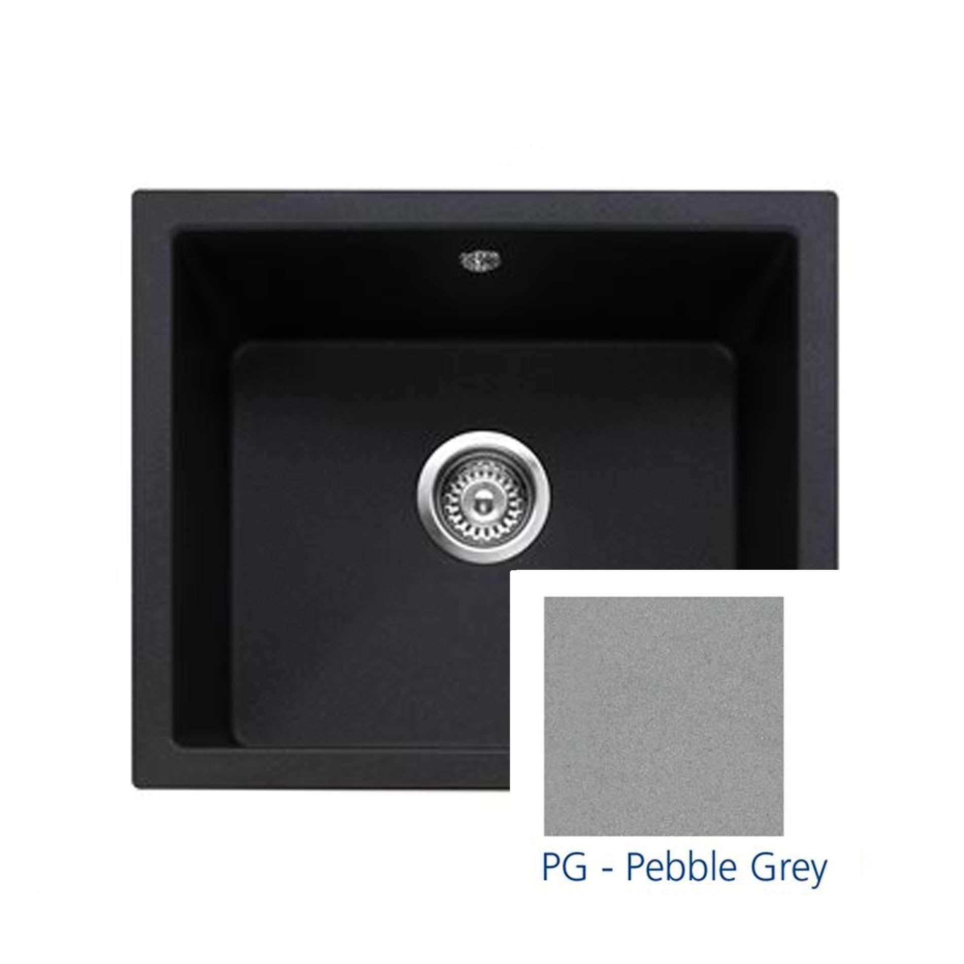 Charmant Picture Of Leesti 600 Pebble Grey Granite Sink