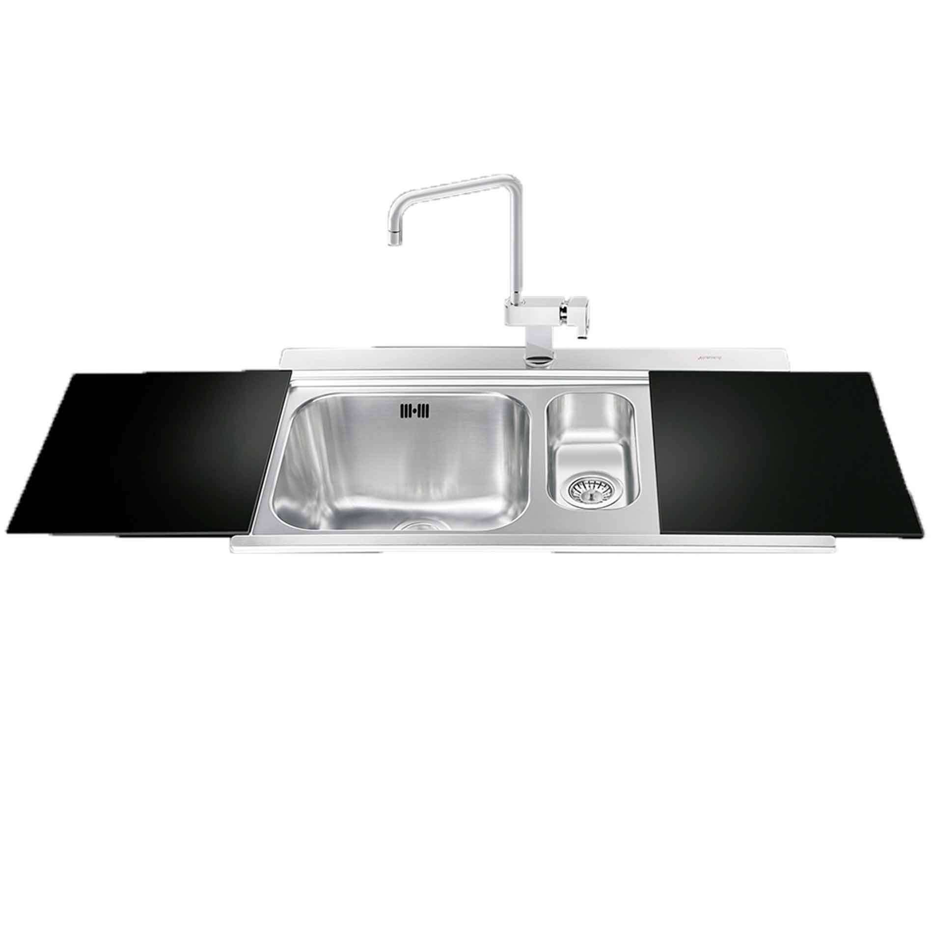 Black Kitchen Sink And Taps Smeg Li915n Iris 15 Bowl With Drainer Inset Sink With Black