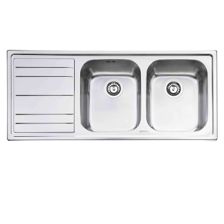 Double Bowl Ceramic Sink With Drainer : ... Rigae Double Bowl With Drainer Inset Sink - Kitchen Sinks & Taps