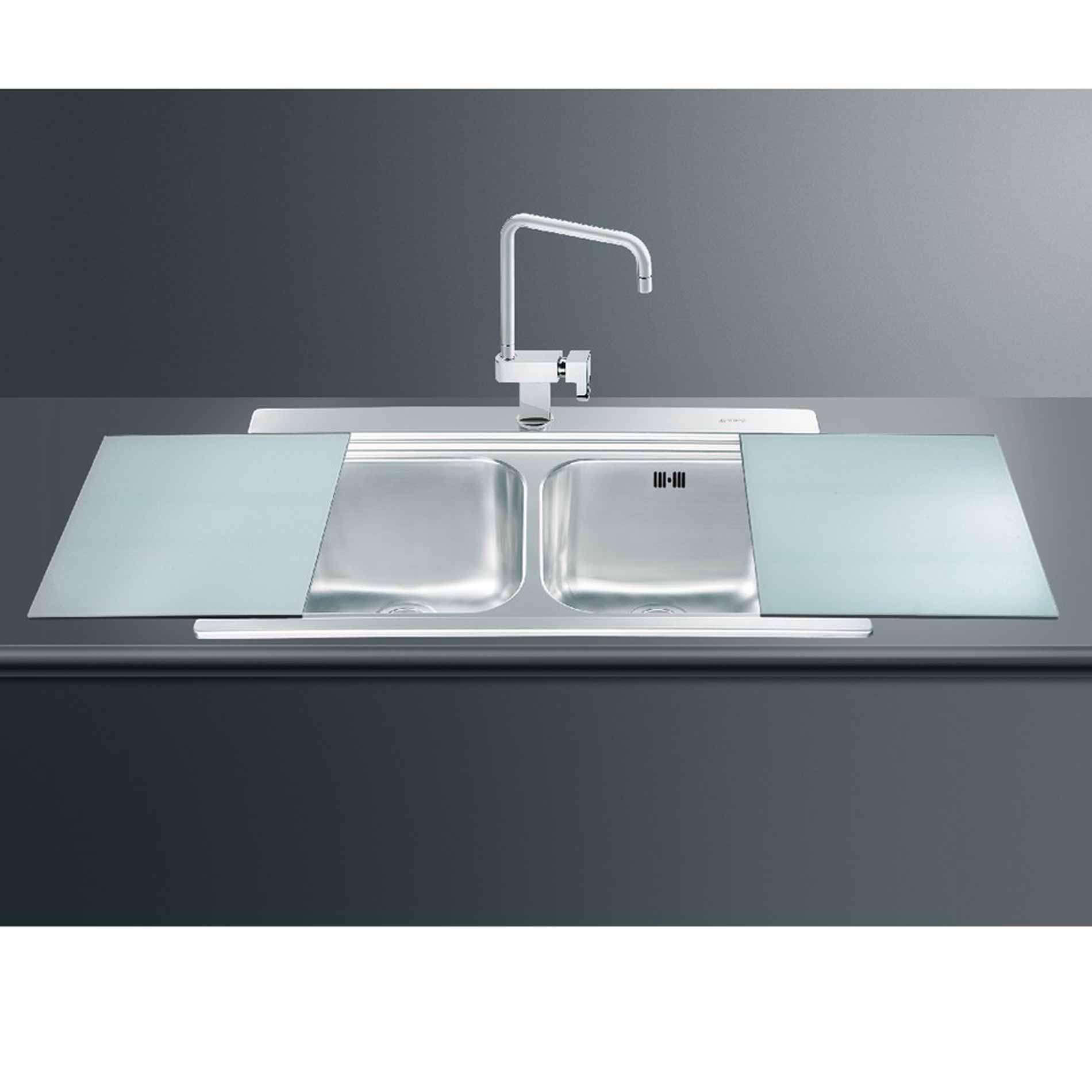 Smeg: LI92SG Iris Double Bowl Inset Sink With Silver Glass Chopping ...