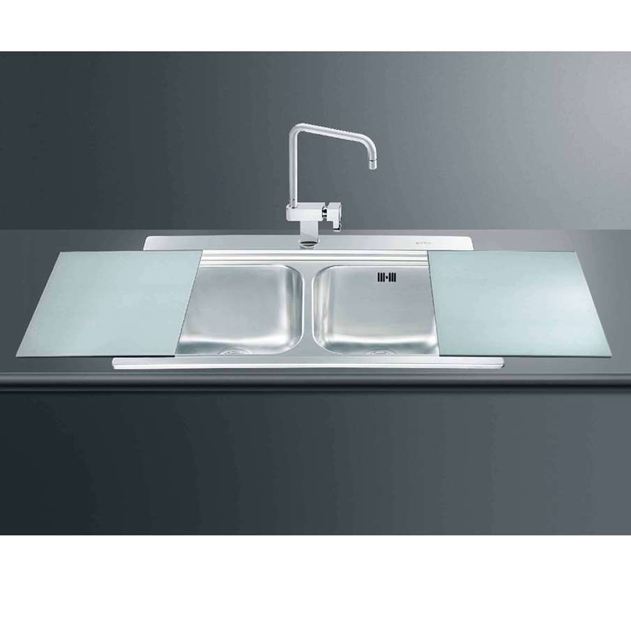 ... Inset Sink With Silver Glass Chopping Boards - Kitchen Sinks & Taps