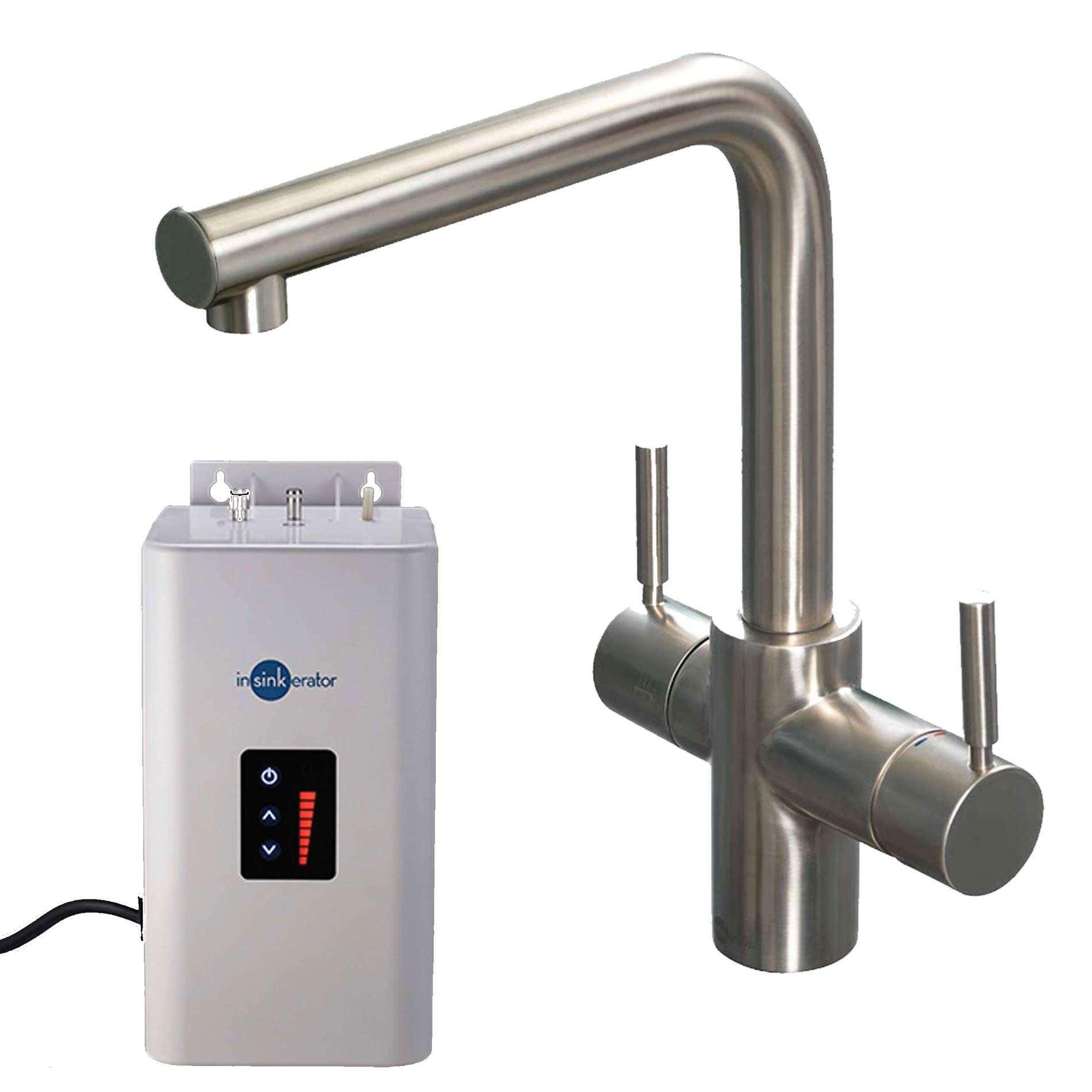 insinkerator 3n1 brushed steel steaming hot water tap pack