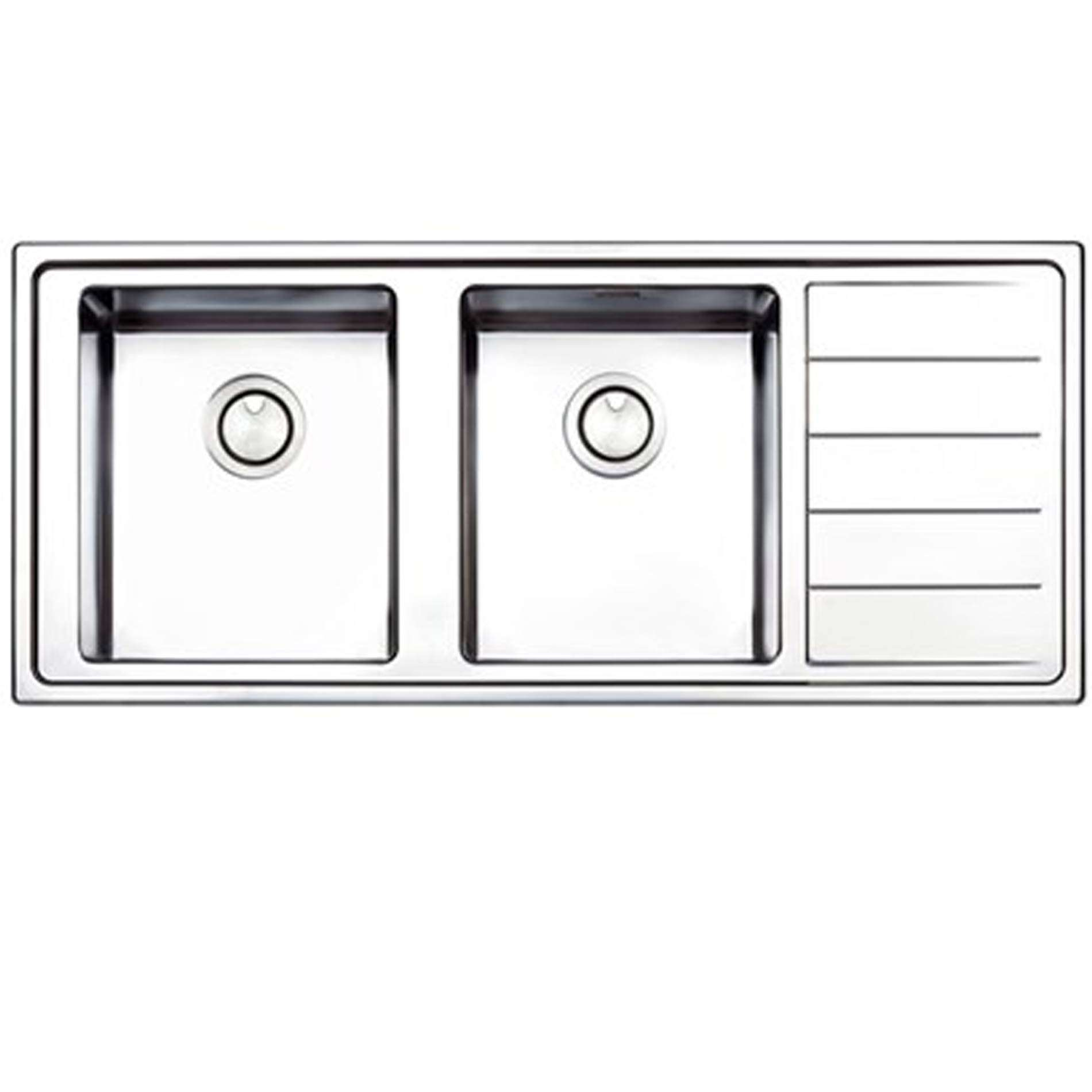 Double Bowl Stainless Steel Kitchen Sink.Clearwater Linear Plus Double Bowl Stainless Steel Sink