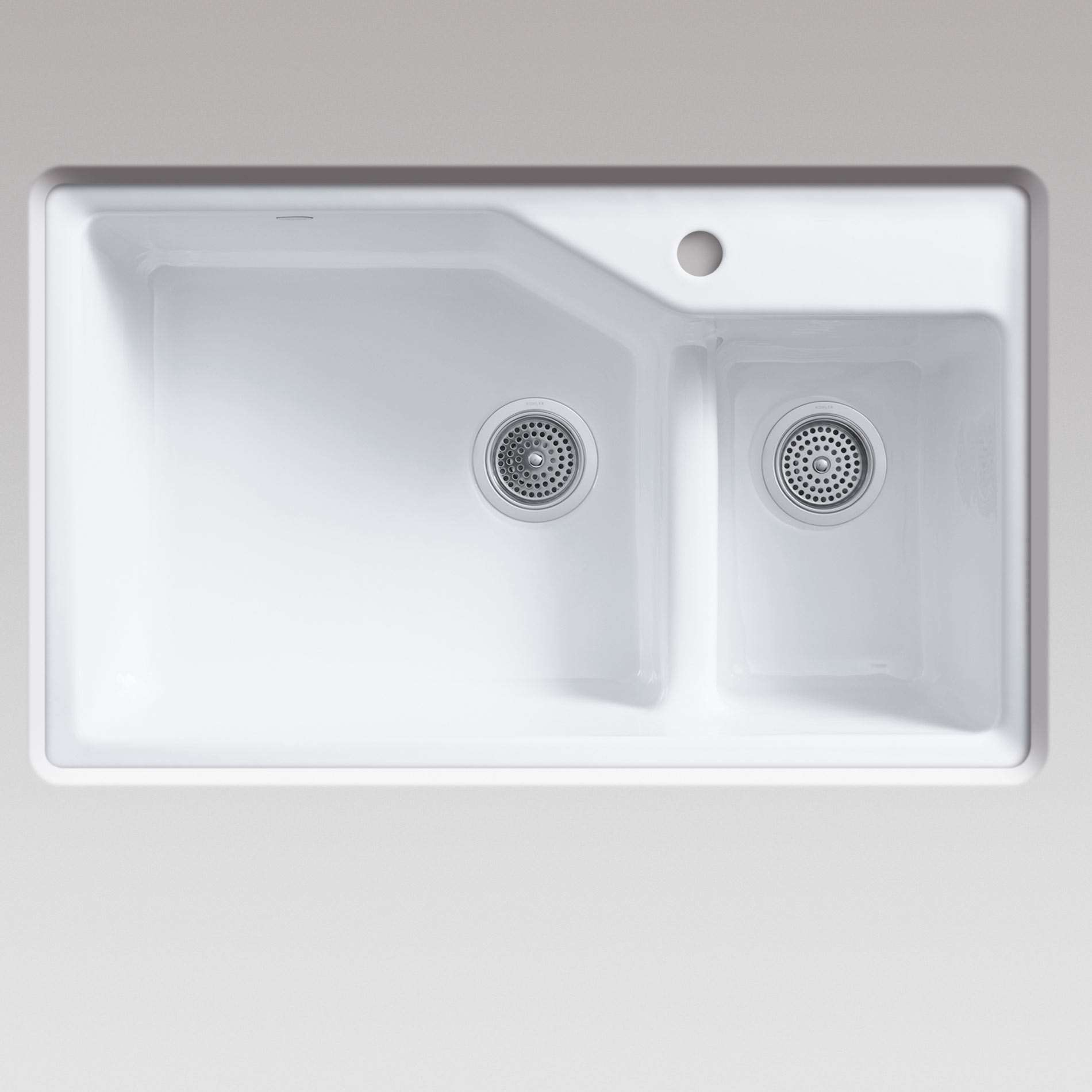 Kohler indio 6411 2 tap hole smart divide white cast iron for Cast iron sink manufacturers