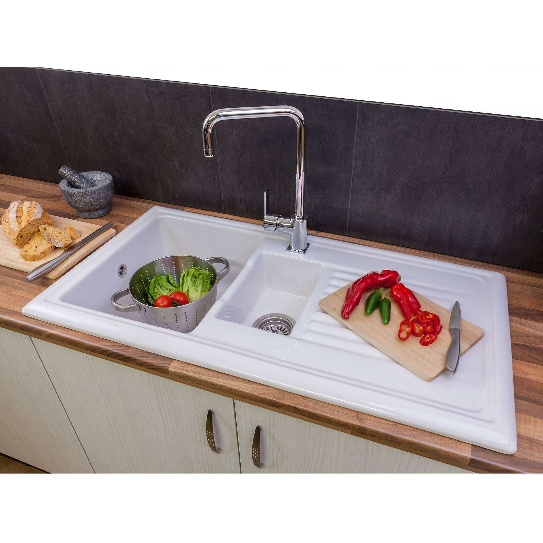 ceramic kitchen sinks uk reginox rl301cw ceramic sink amp ceto tap pack kitchen 5182