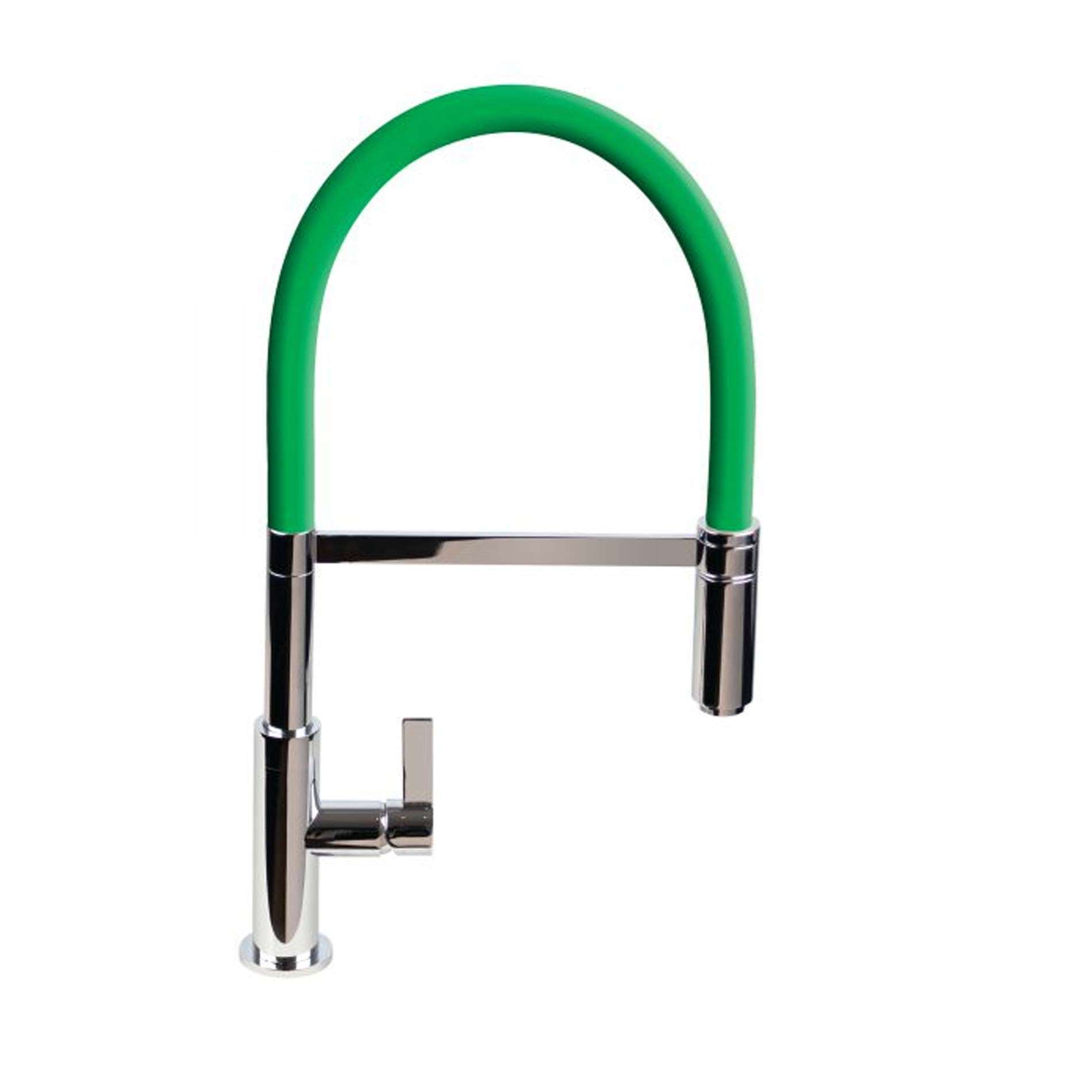Picture of Spirale Brushed And Green Flexible Spout Tap