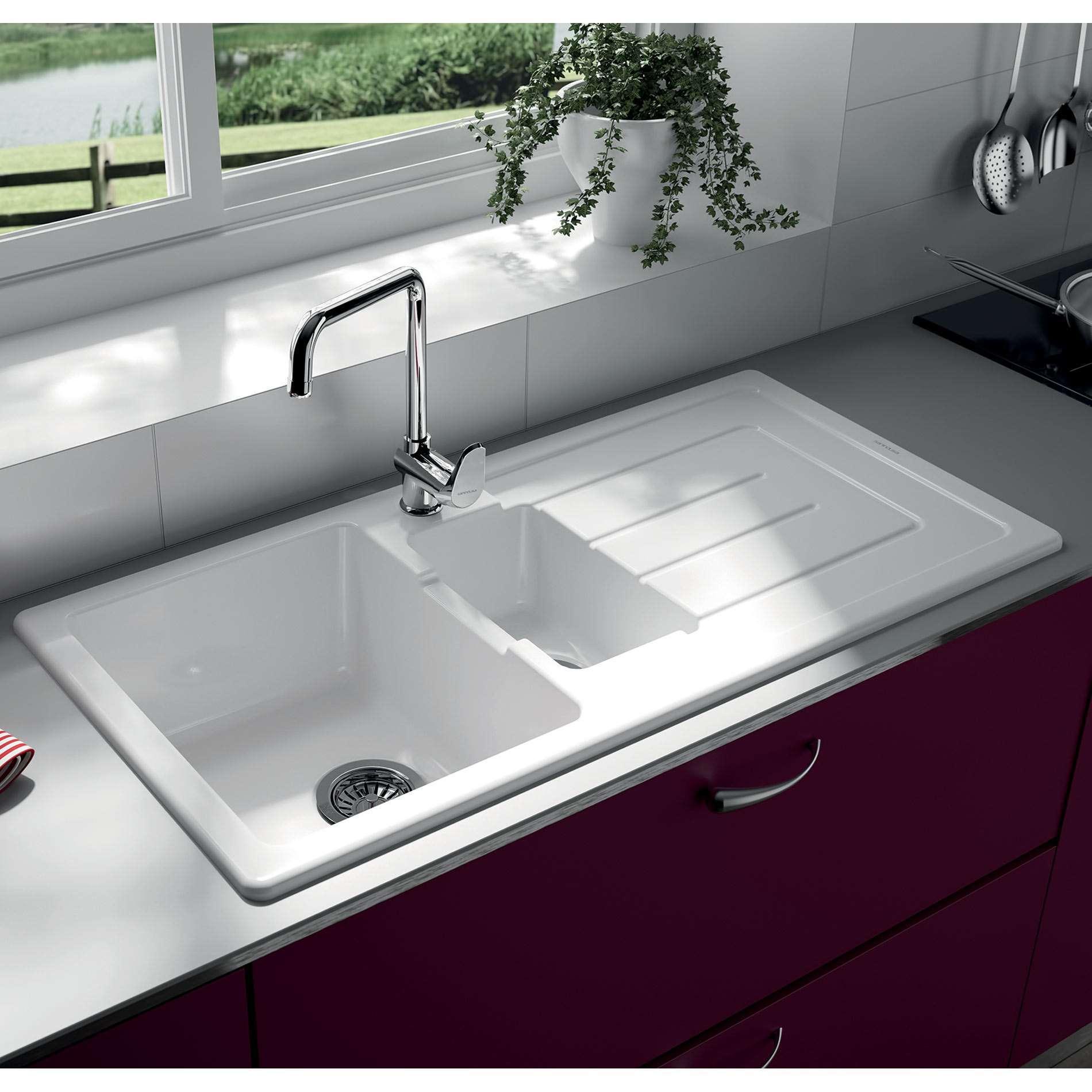 Thomas Denby Jarla 1 5 Bowl Ceramic Sink Kitchen Sinks Taps