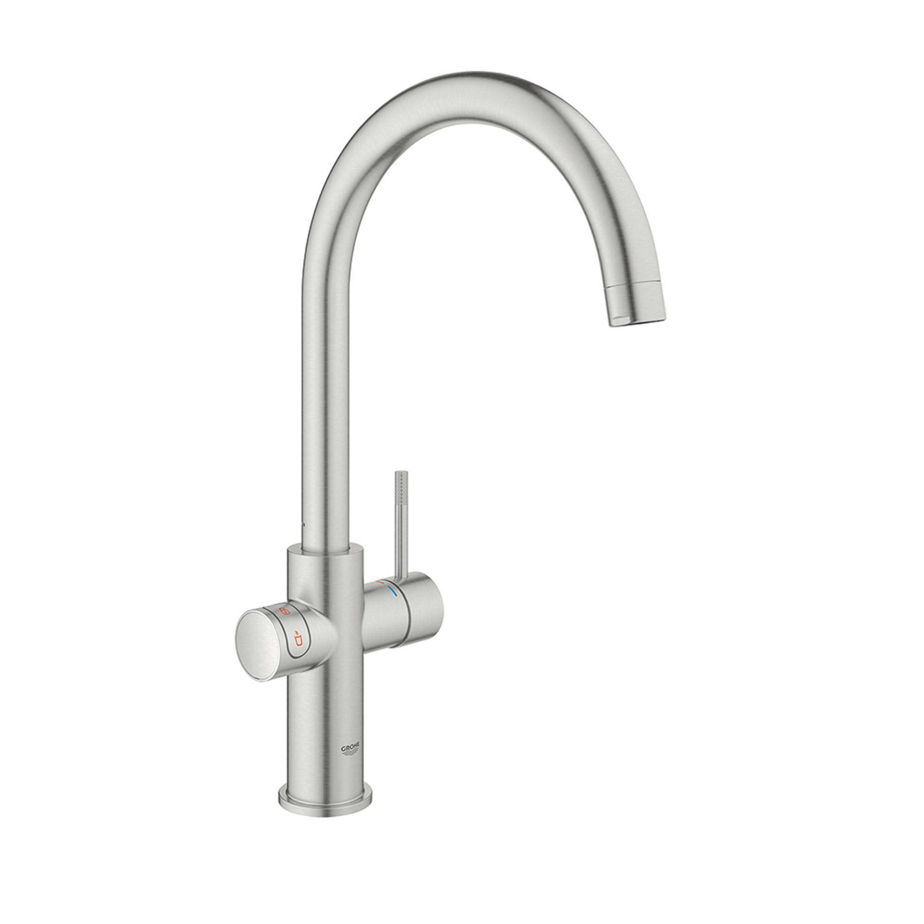 Picture of Red Duo 30058DC1 Brushed Steel Hot Water Tap