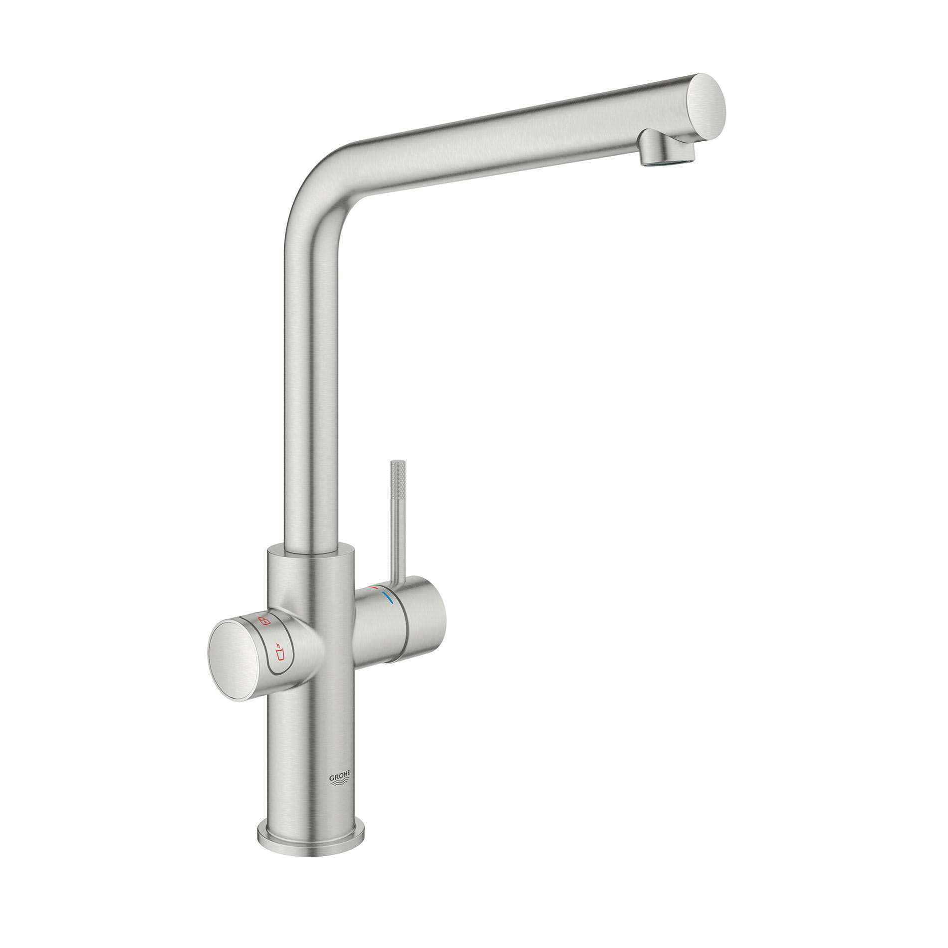 Picture of Red Duo 30341DC1 Brushed Steel Hot Water Tap