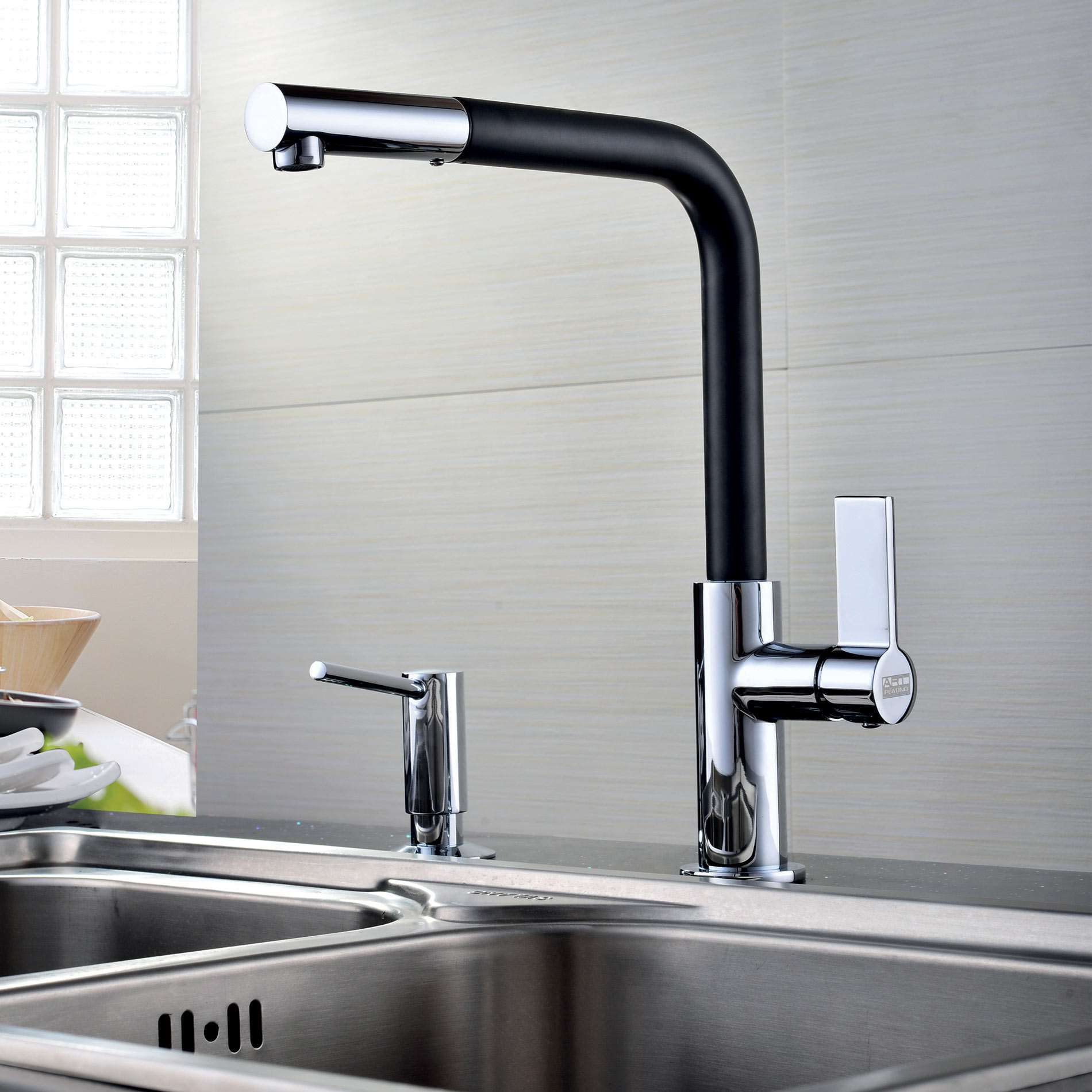 Black Kitchen Tapware: Clearwater: Auriga Black And Chrome Pull Out Tap