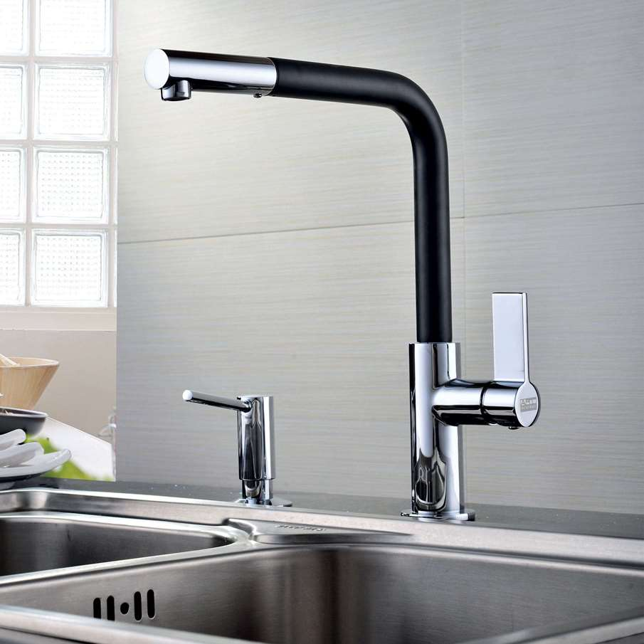 Clearwater Auriga Black And Chrome Pull Out Tap Kitchen